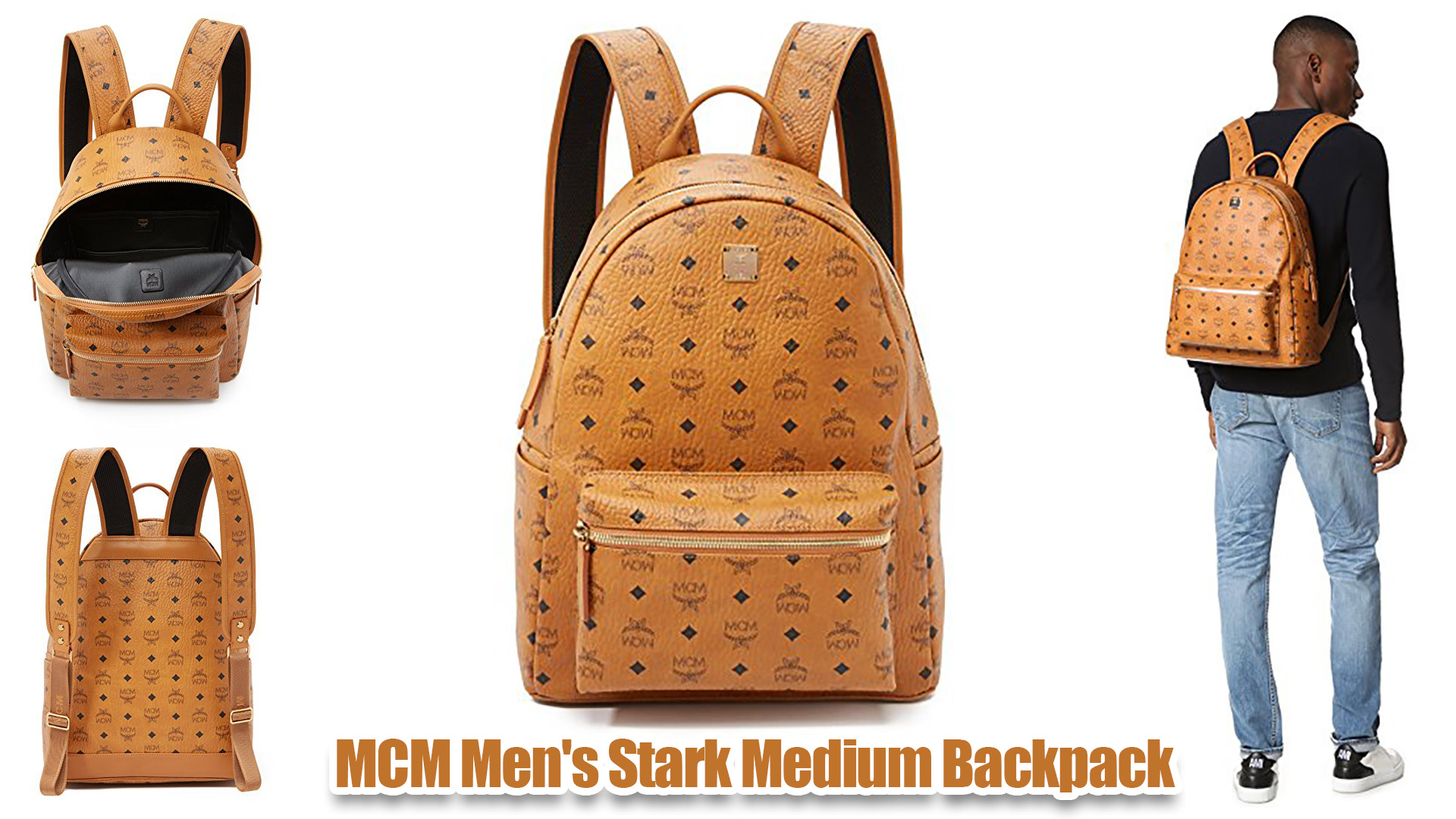 MCM Men's Stark Medium Leather Cognac Backpack