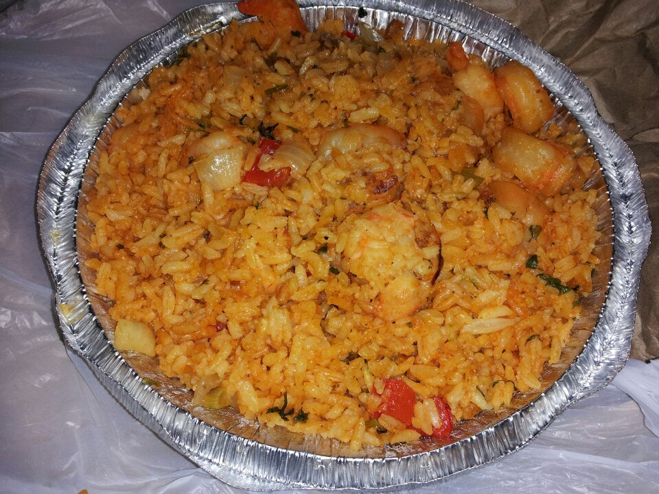 Shrimp & Rice with Vegetables, from Junior's Seafood on Broadway in Washington Heights.
