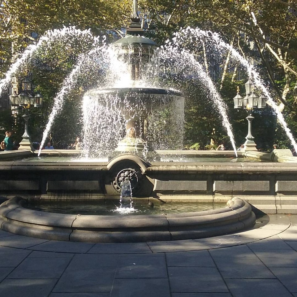 City Hall Park Fountain in Tribeca, in Lower Manhattan.