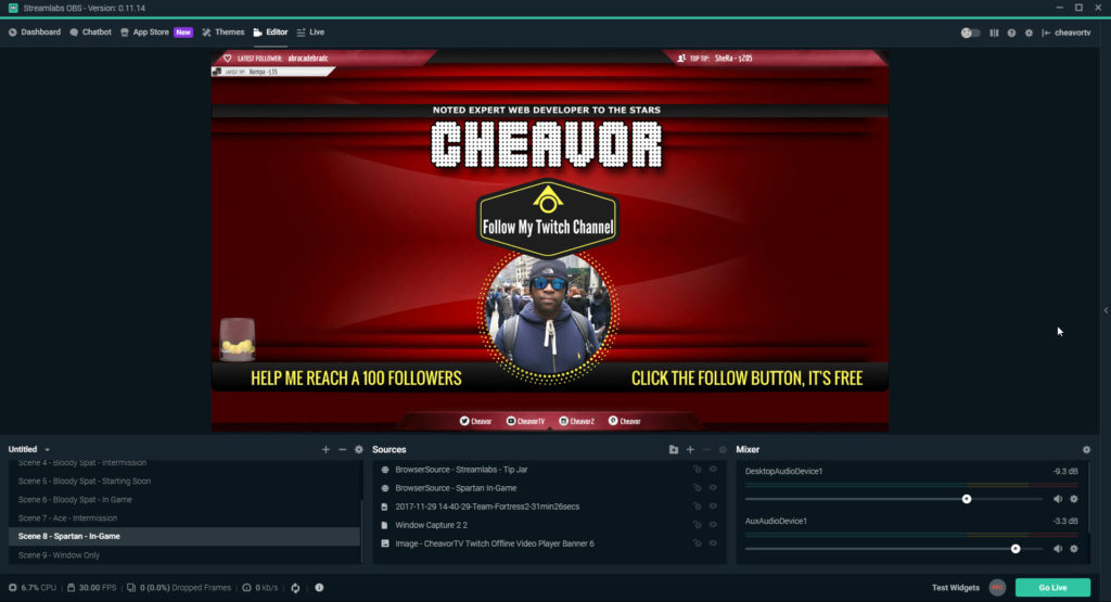 Streaming to Twitch using Streamlabs OBS.